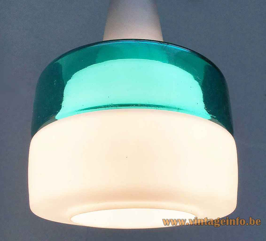 Peill + Putzler duotone glass pendant lamp white opal & clear turquoise hand blown lampshade 1950s 1960s Germany