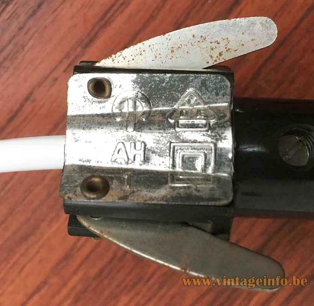 Peill + Putzler duotone glass pendant lamp metal suspension mechanism E14 socket 1950s 1960s Germany