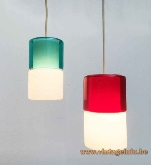 Peill + Putzler Duotone Glass Pendant Lamp - Other Version - Green & Red Glass Lampshades
