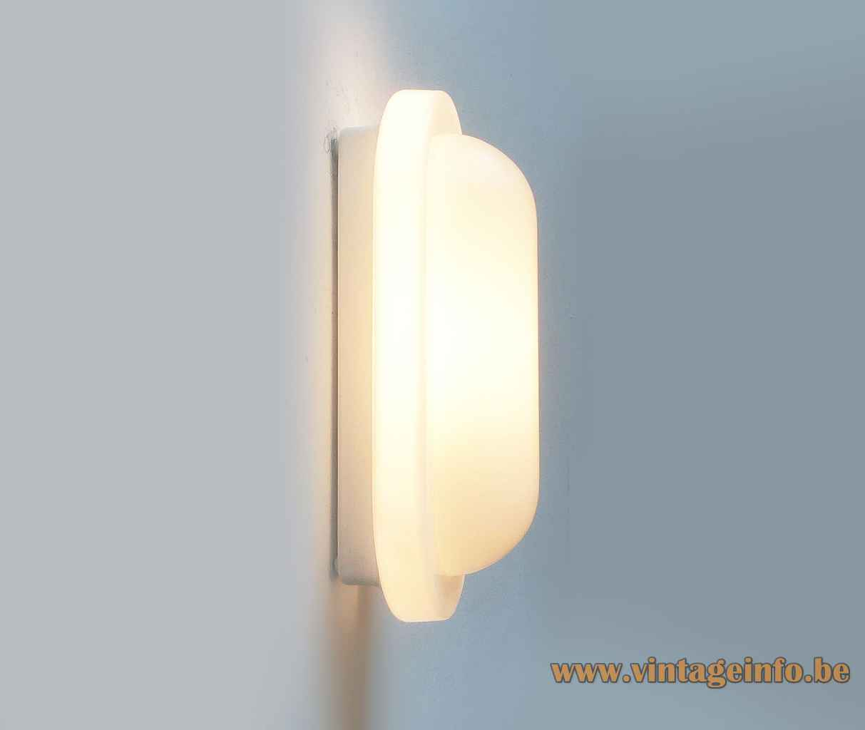Peill + Putzler oval wall lamp white opal glass lampshade 1970s 1980s Germany E14 socket