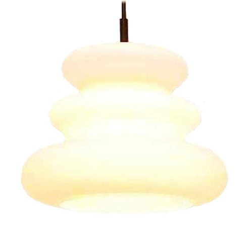 Peill + Puzler AH 1 pendant lamp white frosted opal billow glass lampshade 1960s 1970s Germany