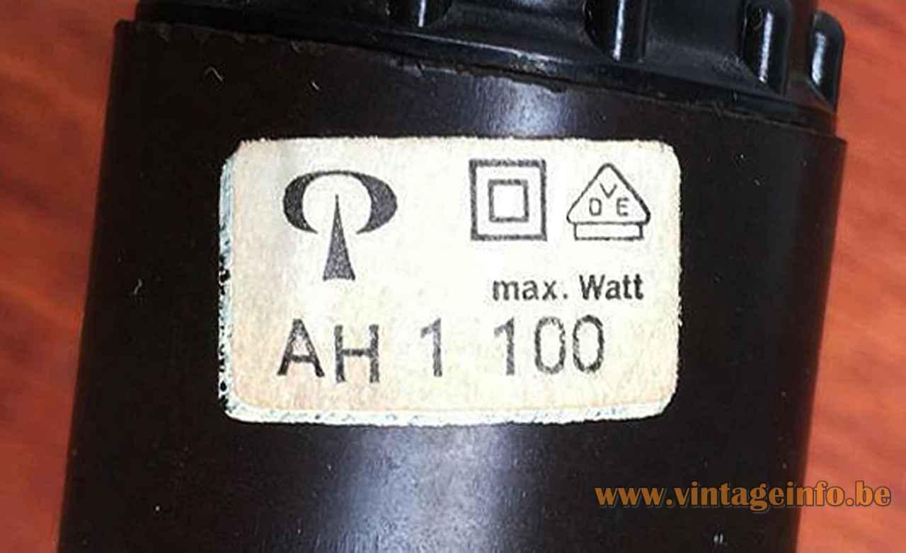 Peill + Puzler AH 1 pendant lamp rectangular paper label & logo maximum 100 watt 1960s 1970s Germany