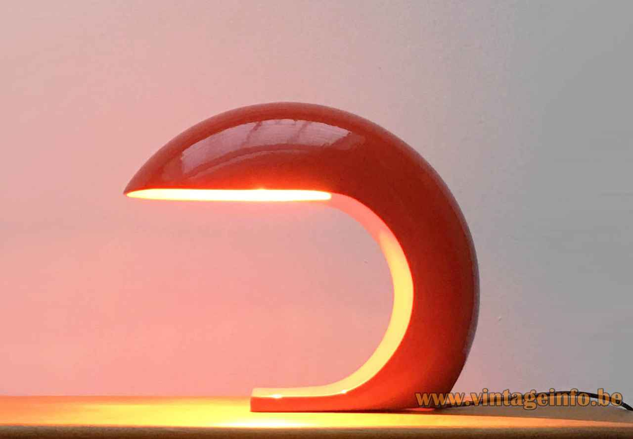 Prisma ceramic table lamp red-orange glazed curved arc lampshade 1970s Italy E27 socket