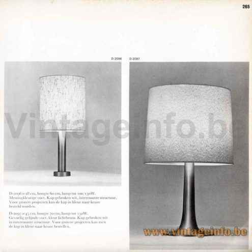 Raak Bazuin Table Lamp - 1968 Catalogue Picture - Model D-2097