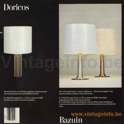 Raak Bazuin Table Lamp - 1972 Catalogue Picture - Model D-2097