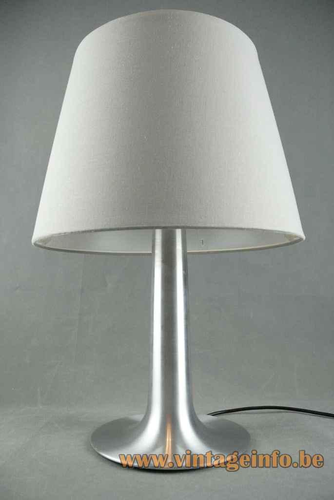 Raak Bazuin table lamp D-2097 conical aluminium base grey fabric lampshade 1960s 1970s Netherlands E27 socket