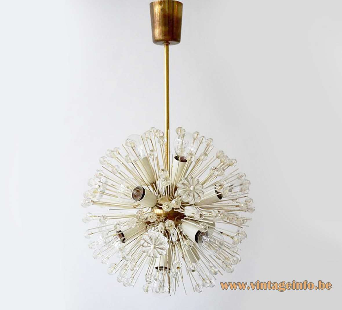 Rupert Nikoll sputnik flowers chandelier brass frame glass beads sunburst lampshade Austria 1950s 1960s Emil Stejnar
