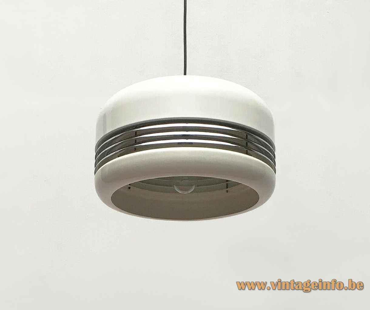Staff pendant lamp 5526 round white aluminium lampshade chrome ring slats 1970s Germany E27 socket 5525