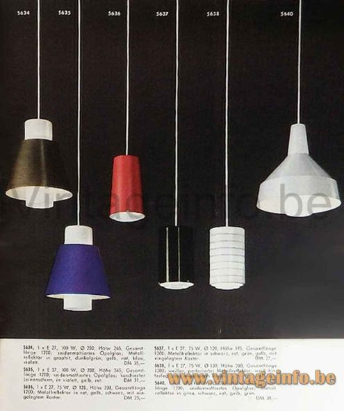 Staff pendant lamp 5635 1958 catalogue picture 1950s 1960s Germany