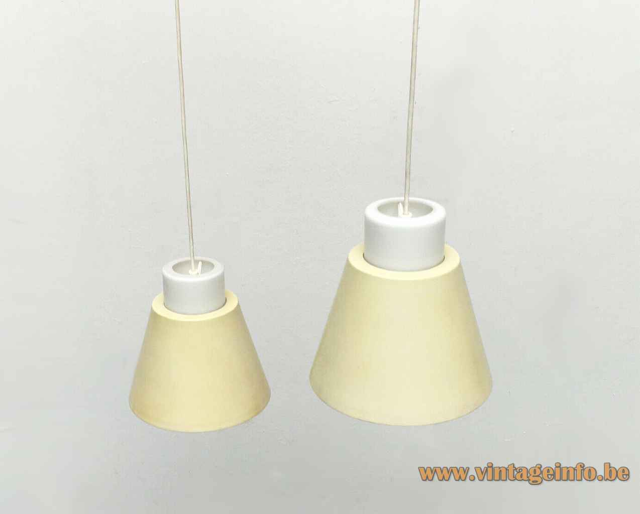 Staff pendant lamp 5635 frosted opal glass diffuser conical pale yellow metal lampshade 1950s 1960s Germany