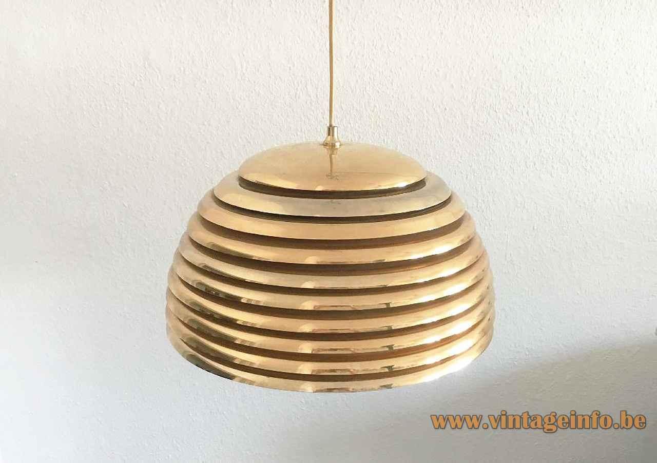 Staff Saturno pendant lamp round brass ring slats lampshade design: Kazuo Motozawa Yamagiwa Japan 1970s Germany