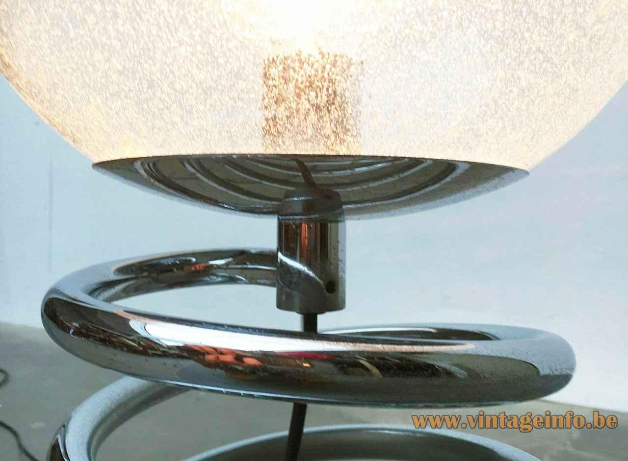 Staff spiral floor lamp chrome spring tube base bubbleglass globe lampshade 1970s Germany E27 socket