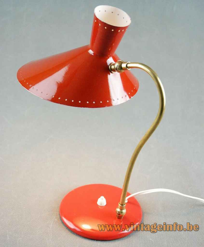 Svend Aage Holm Sørensen Bloom desk lamp round red metal base curved brass rod diabolo lampshade