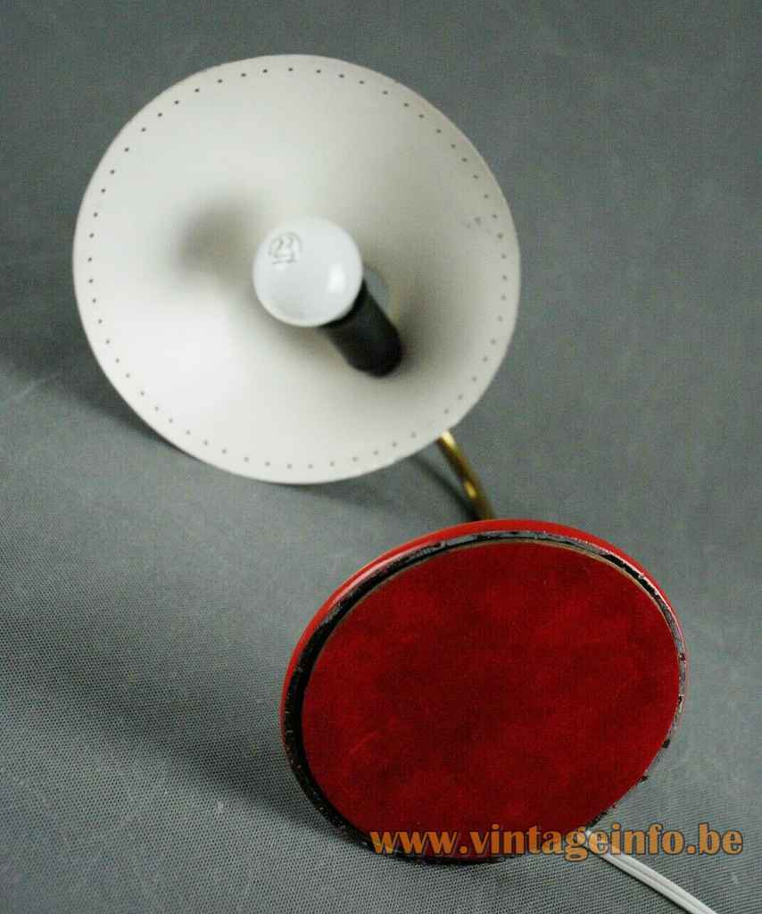 Svend Aage Holm Sørensen Bloom desk lamp round red base brass rod diabolo lampshade 1950s 1960s