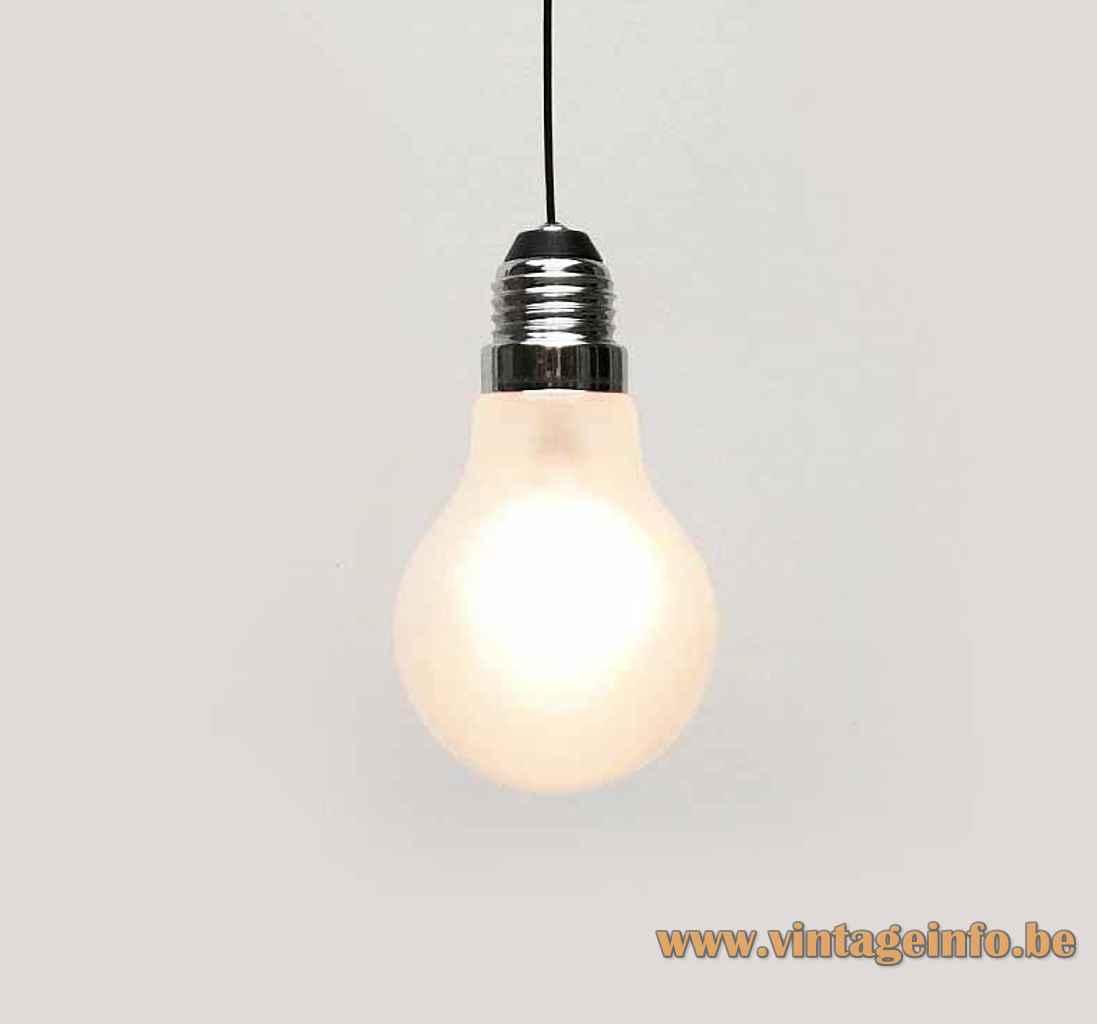 Thomas Alva Edison pendant lamp design: Ingo Maurer bulb lampshade chrome screw thread Germany 1970s 1980s