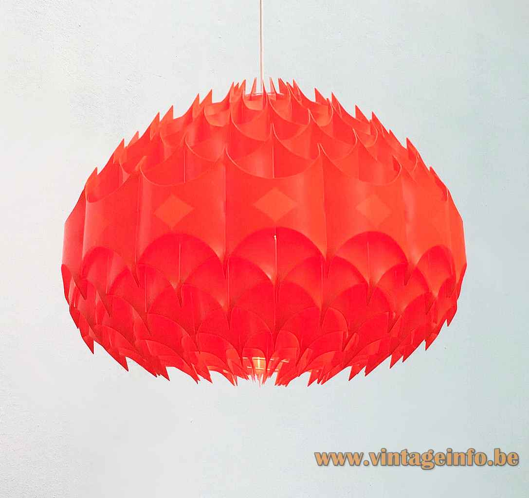 Vest Rhythmik pendant lamp red translucent folded plastic globe lampshade design: Milanda Havlová 1960s 1970s Austria