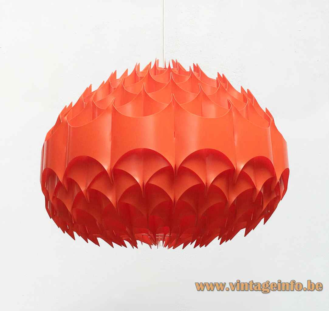 Vest Rhythmik pendant lamp red translucent folded plastic lampshade design: Milanda Havlová 1960s 1970s Austria