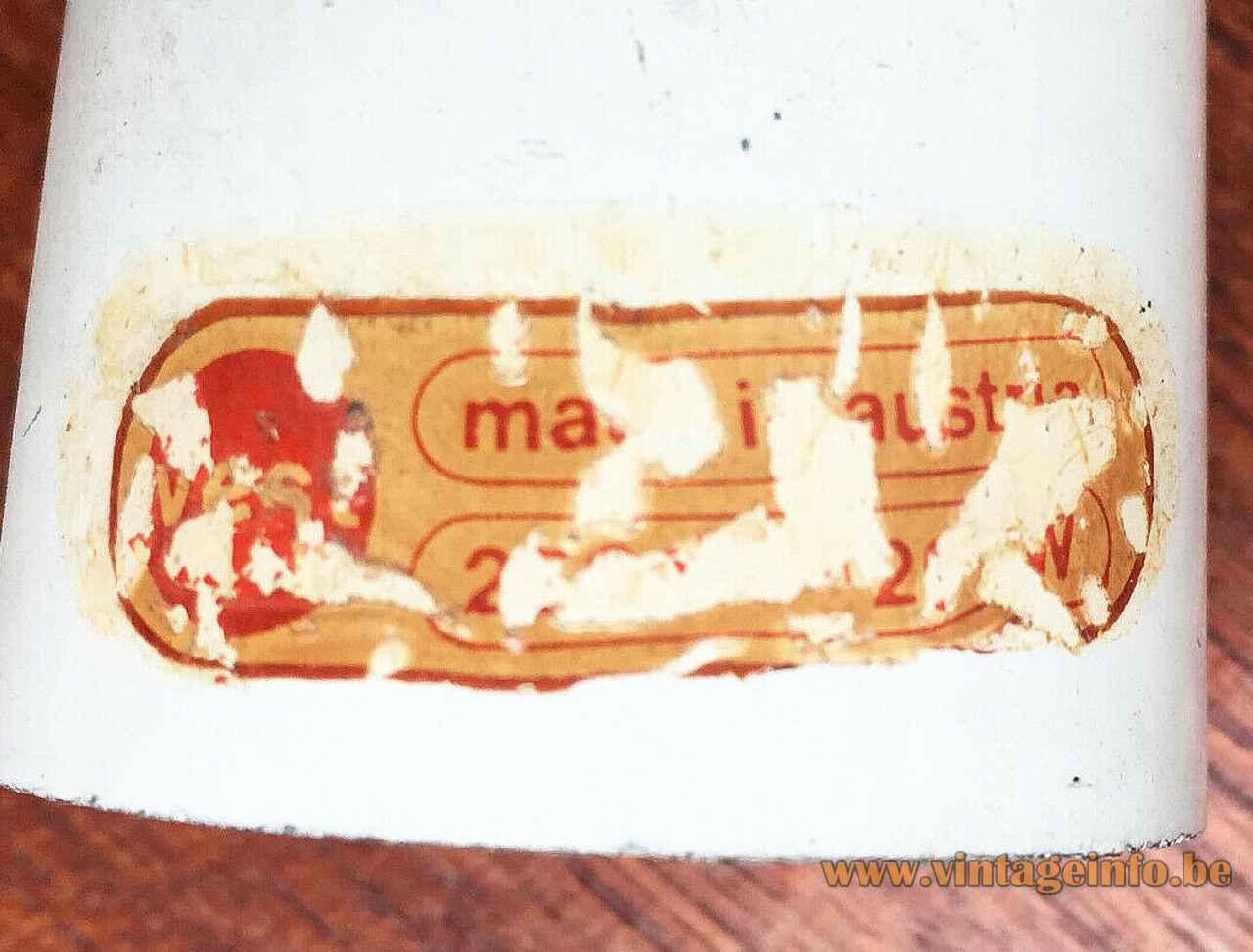 Vest Rhythmik pendant lamp 1968 design: Milanda Havlová paper label & logo 1960s 1970s Austria