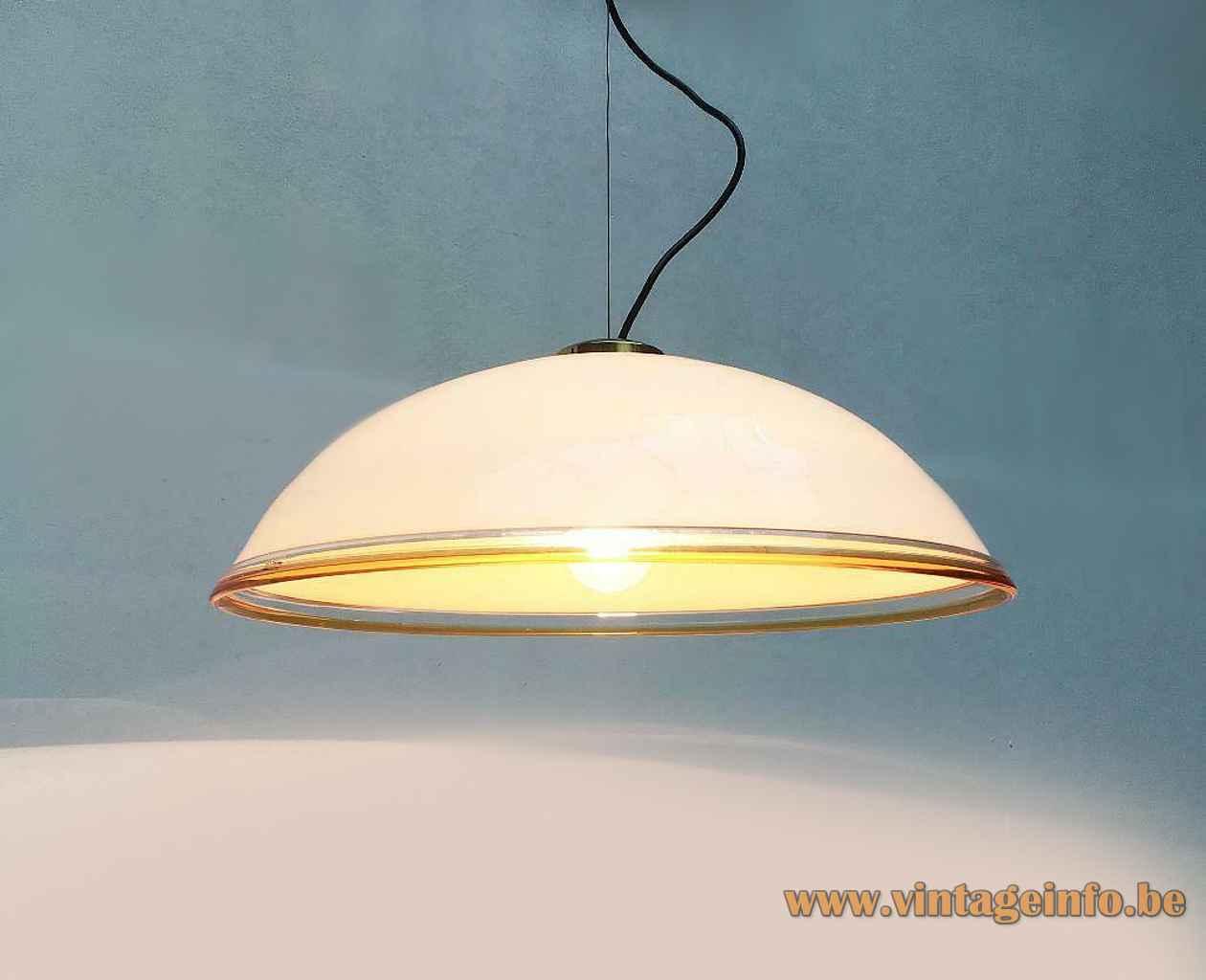Vetrofond Glass pendant lamp hand-blown white opal mushroom lampshade clear & yellow rim 1980s Italy E27 socket
