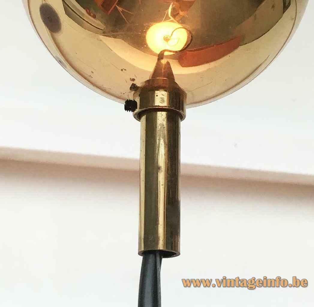 Vetrofond Glass pendant lamp brass canopy 1980s Italy