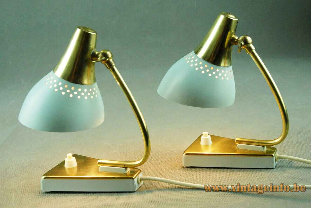 1960s Erpees bedside table lamp triangular base curved brass rod perforated lampshade 1950s Pfäffle Leuchten Germany