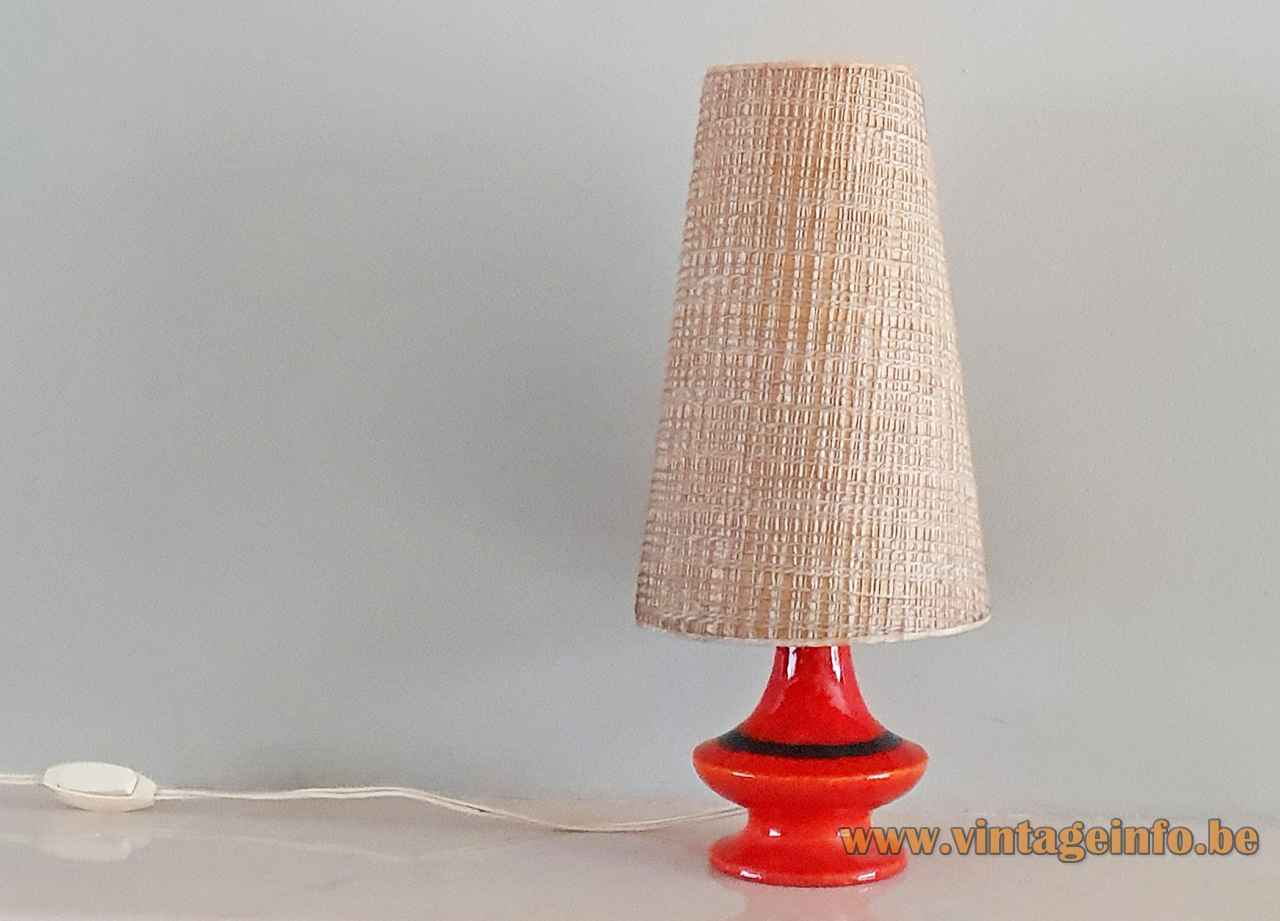 1960s German ceramics table lamp round red & black glazed pottery base conical fabric lampshade Hustadt-Leuchten