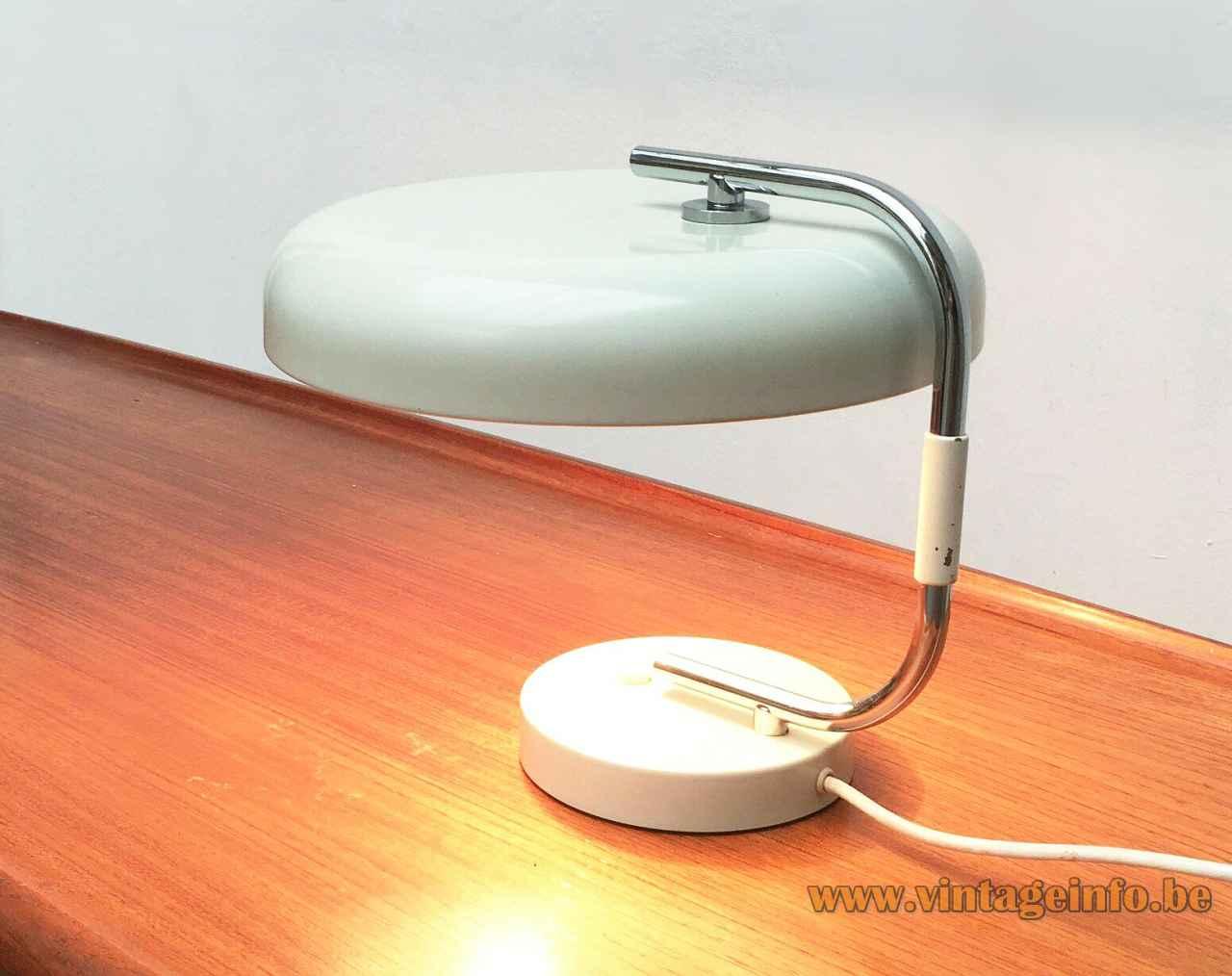 1960s Hustadt-Leuchten desk lamp round white metal base curved chrome rod aluminium mushroom lampshade 1970s Germany