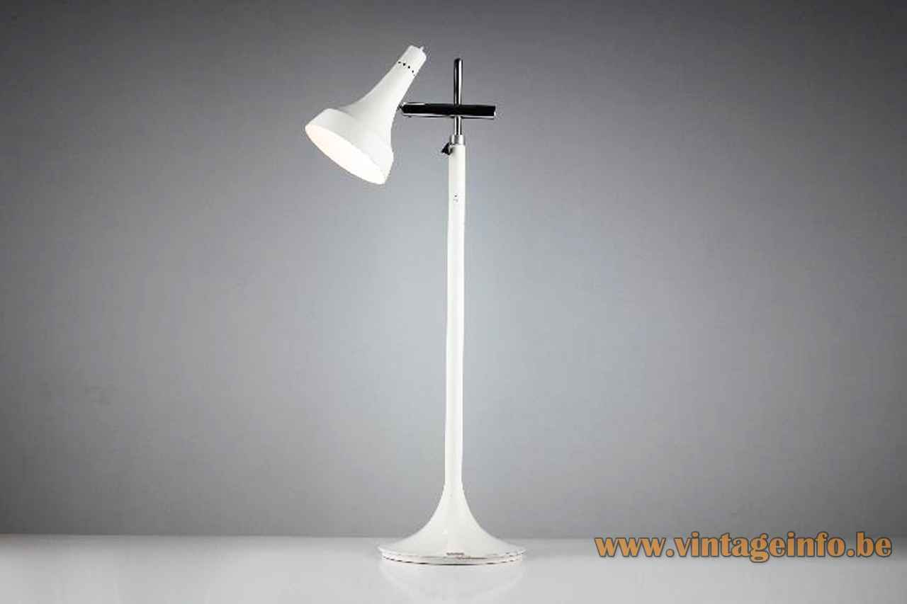 1970s Grin Luz desk lamp round white metal base chrome rods adjustable trumpet lampshade Madrid Spain