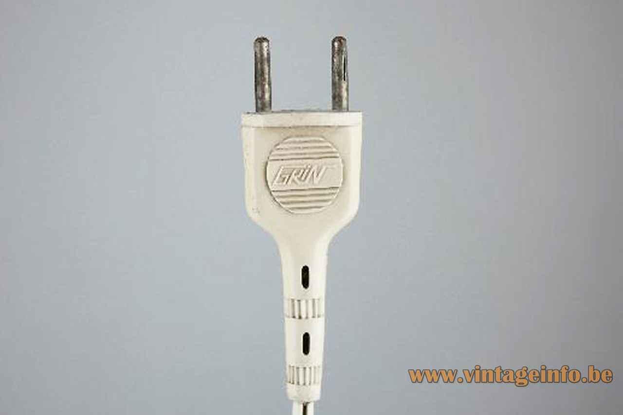1970s Grin Luz desk lamp white plastic plug label logo Madrid Spain