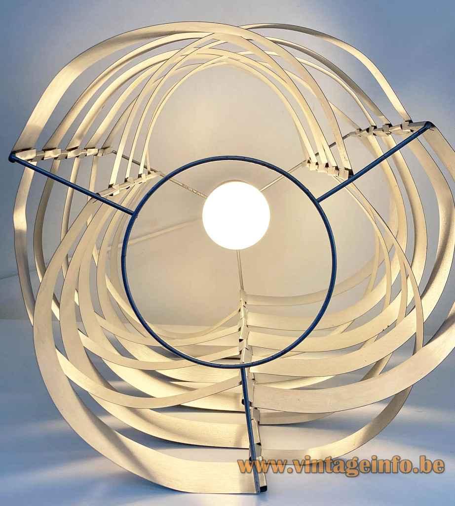 1970s Max Sauze pendant lamp round alumunium slats lampshade metal wire frame E27 socket France