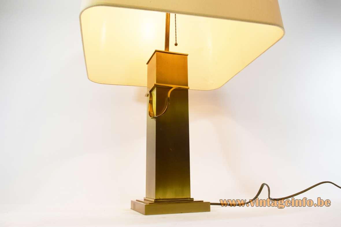 Deknudt brass rectangular table lamp brushed metal square base elongated beam fabric lampshade 1970s 1980s