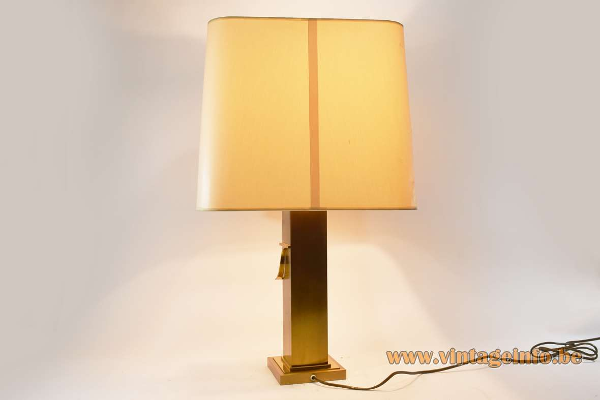 Deknudt brass rectangular table lamp brushed metal square base elongated beam fabric lampshade 1970s 1980s