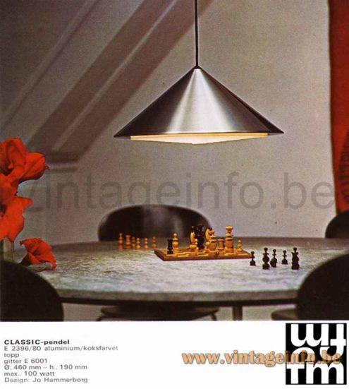 Fog & Mørup Classic Pendant Lamp - 1970s Catalogue Picture - 1960s Jo Hammerborg Design