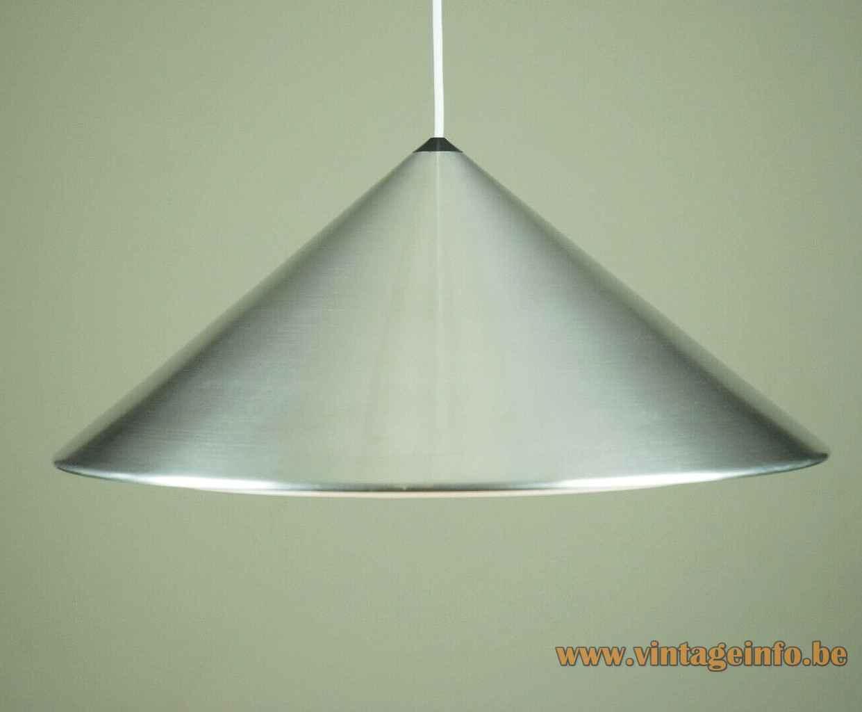 Fog & Mørup Classic pendant lamp round conical pyramid brushed aluminium lampshade plastic grid 1960s 1970s Denmark