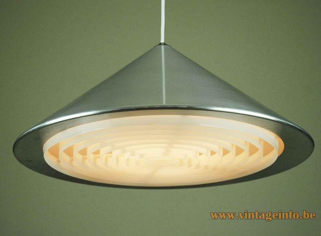 Fog & Mørup Classic pendant lamp round conical pyramid aluminium lampshade plastic grid 1960s Jo Hammerborg Denmark