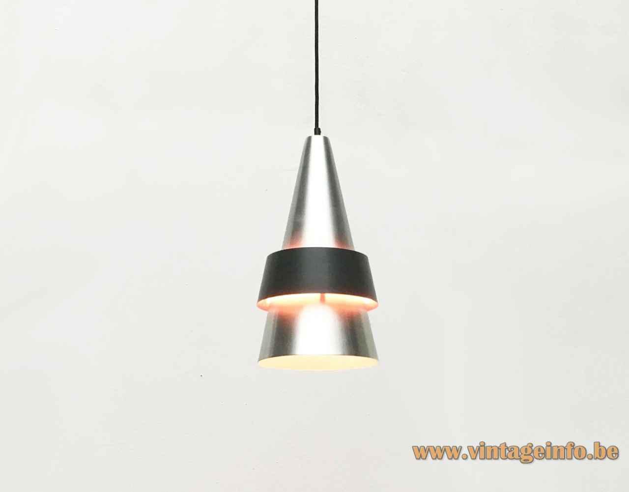 Fog & Mørup Corona pendant lamp round conical aluminium lampshade black ring 1960s design: Jo Hammerborg Denmark