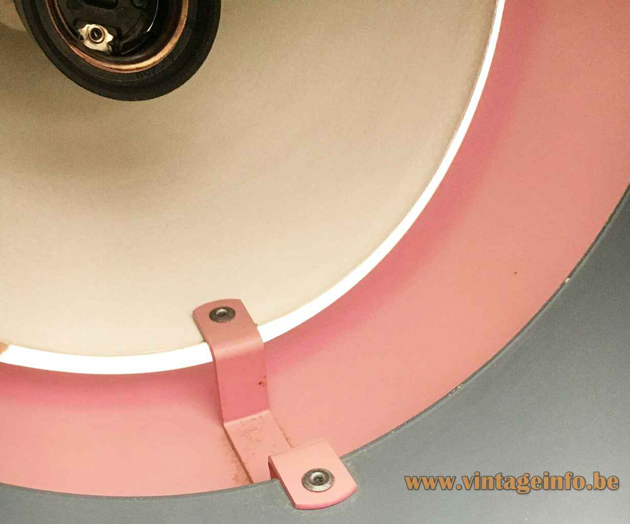Fog & Mørup Corona pendant lamp conical aluminium lampshade 1960s design: Jo Hammerborg inside view E27 socket