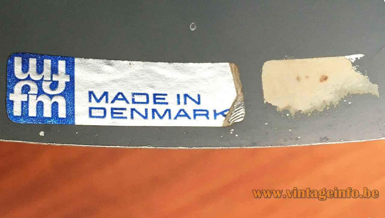 Fog & Mørup Corona pendant lamp label logo conical aluminium lampshade 1960s design: Jo Hammerborg Denmark
