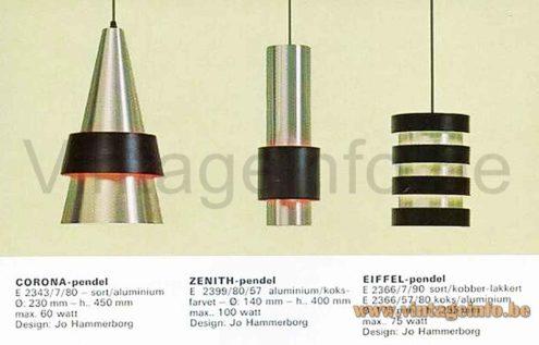 Fog & Mørup Corona pendant lamp 1960s design: Jo Hammerborg Denmark catalogue picture Zenith Eiffel