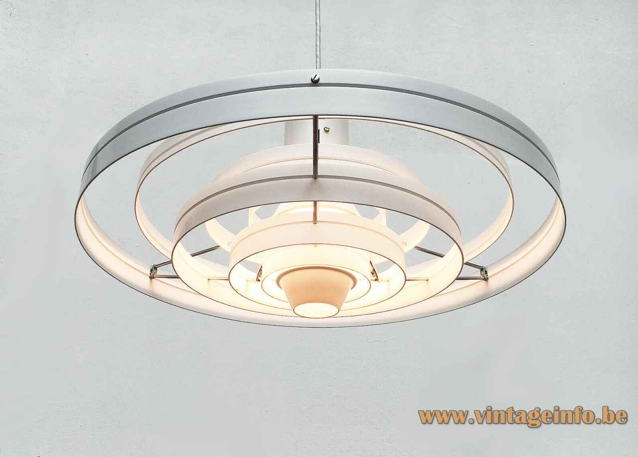 Fog & Morup Fibonacci pendant lamp white aluminium rings lampshade design: Sophus Frandsen Saturn 1960s Denmark