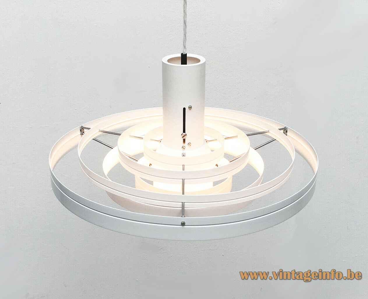 Fog & Morup Fibonacci pendant lamp white aluminium rings lampshade design: Sophus Frandsen Saturn 1960s top view