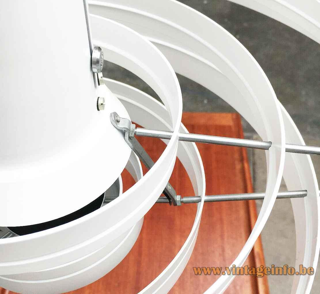 Fog & Morup Fibonacci pendant lamp white aluminium rings lampshade design: Sophus Frandsen Saturn 1960s parts close up