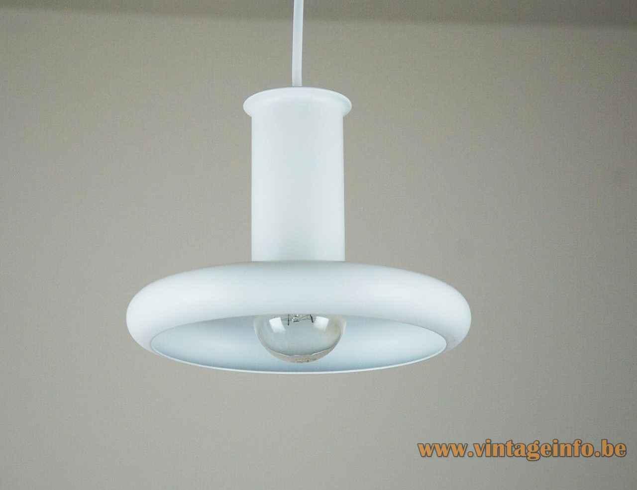 Hans Due Optima pendant lamp white metal disc & tube lampshade 1970s design Fog & Mørup Denmark