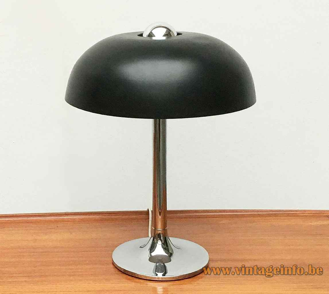 Hustadt-Leuchten mushroom desk lamp round chrome base & rod black round hole lampshade 1970s Germany