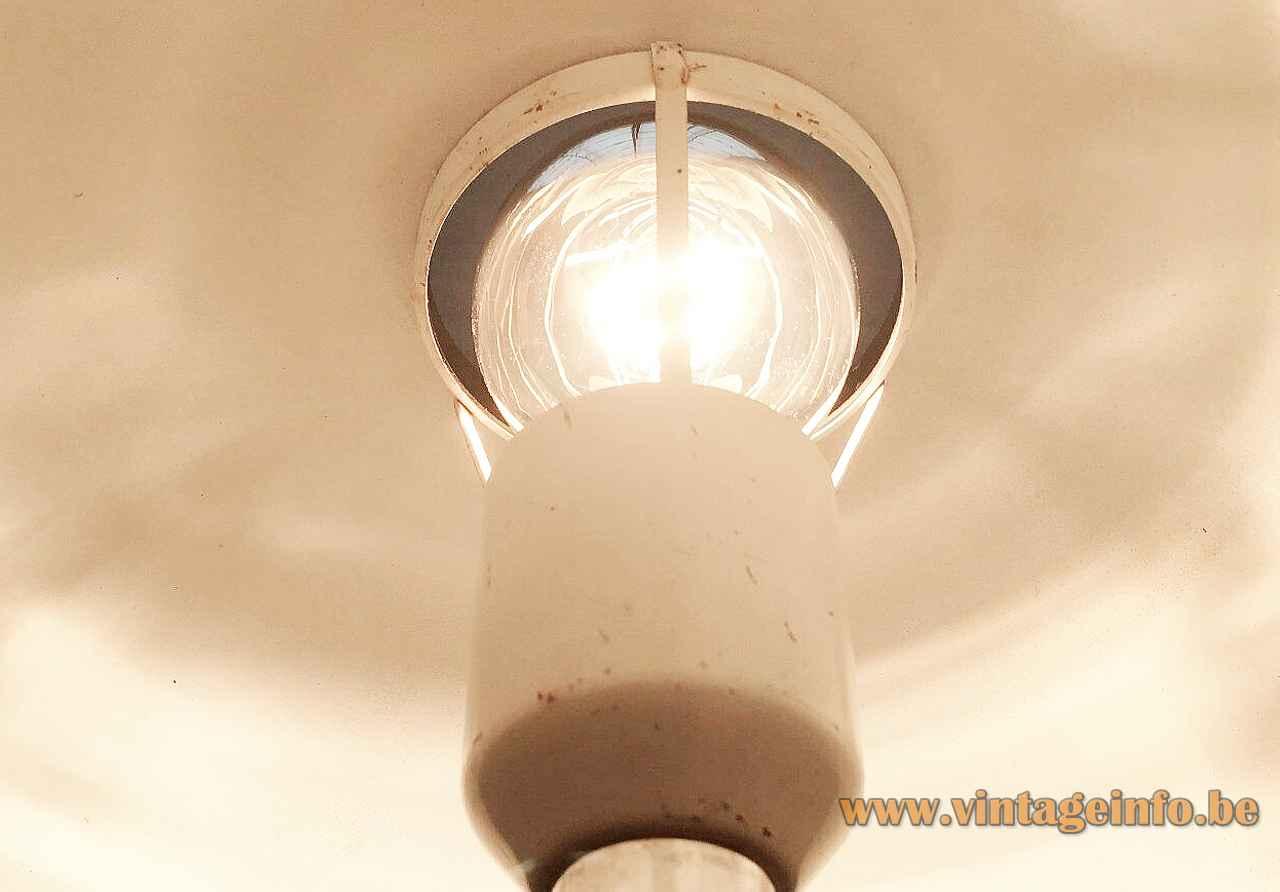 Hustadt-Leuchten mushroom desk lamp round hole lampshade inside view white painted E27 socket 1970s Germany