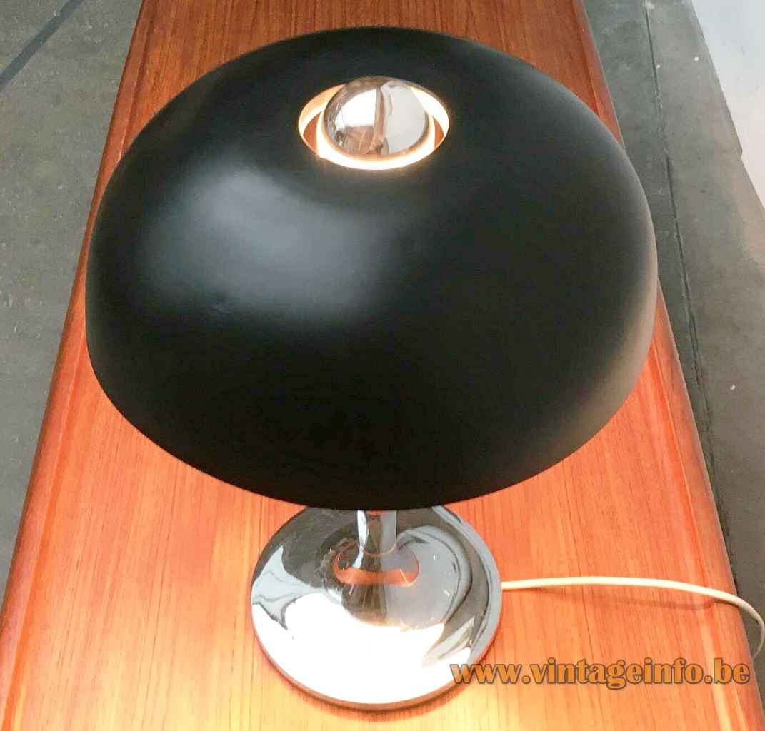 Hustadt-Leuchten mushroom desk lamp round chrome base & rod black round hole lampshade 1970s Germany top view