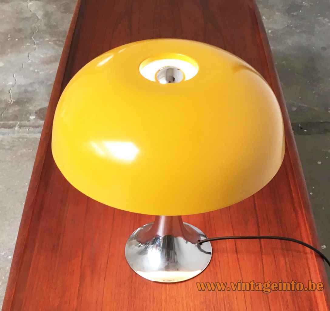 Hustadt-Leuchten yellow mushroom desk lamp round chrome base & rod round hole lampshade 1970s Germany