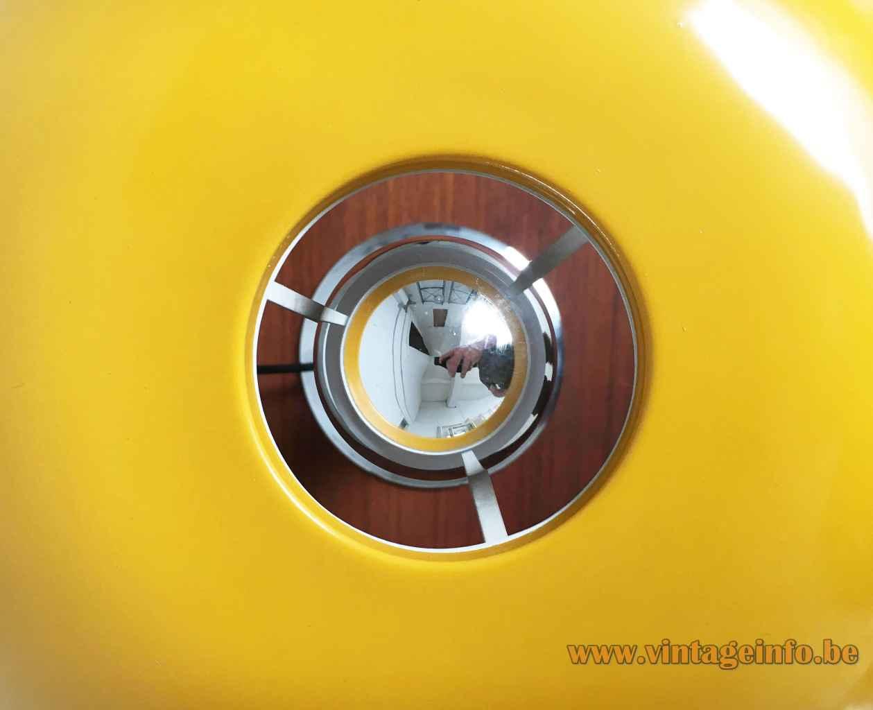 Hustadt-Leuchten yellow mushroom desk lamp round chrome base & rod round hole lampshade 1970s Germany top view