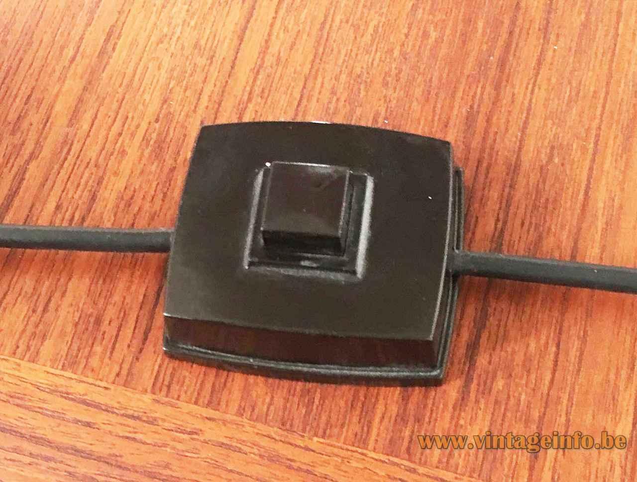 Hustadt-Leuchten yellow mushroom desk lamp square black plastic switch 1970s Germany