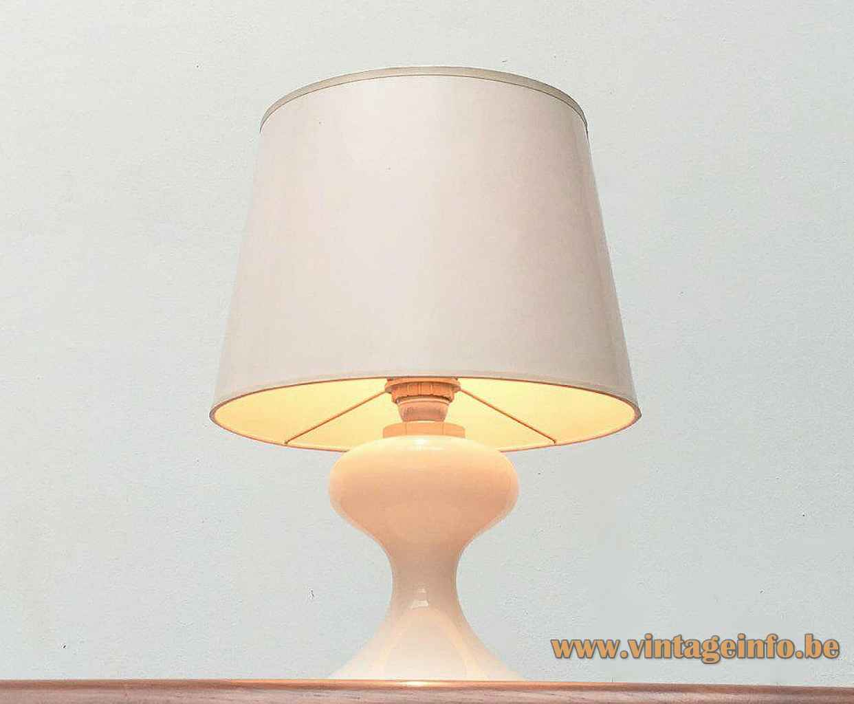 Ingo Maurer ML1 table lamp opal glass base conical fabric lampshade 1970s 1980s Design M Germany